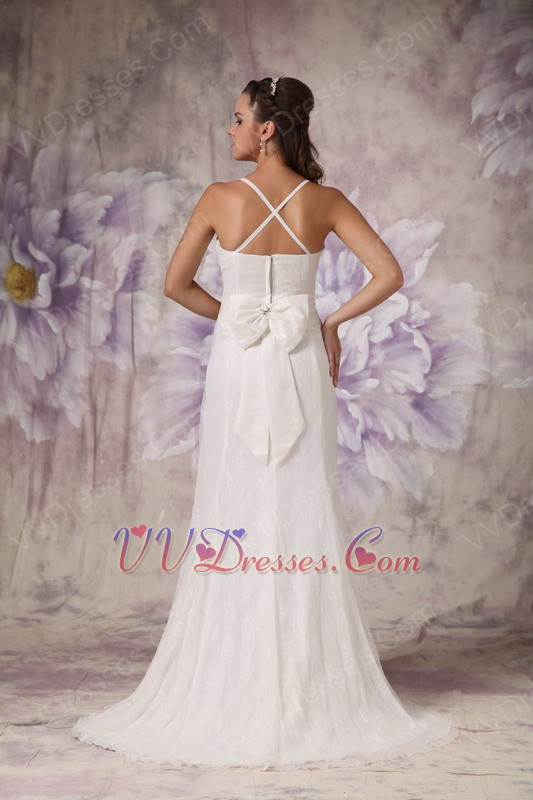Low price spaghetti straps cross back lace wedding dress for Cross back wedding dress