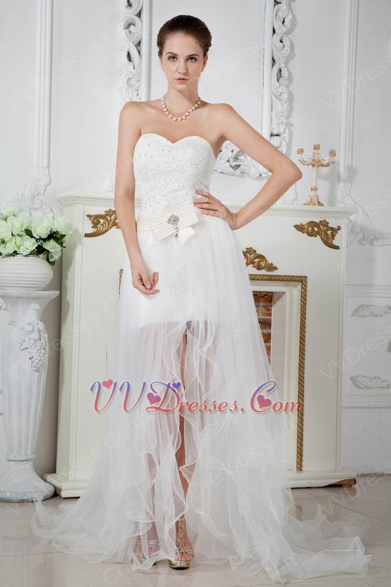 Unique corset asymmetrical detachable skirt bridal gowns for Short wedding dress with removable train