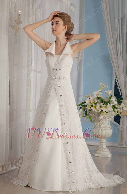 Formal A Line V Neck Lace Church Wedding Dress In Florida