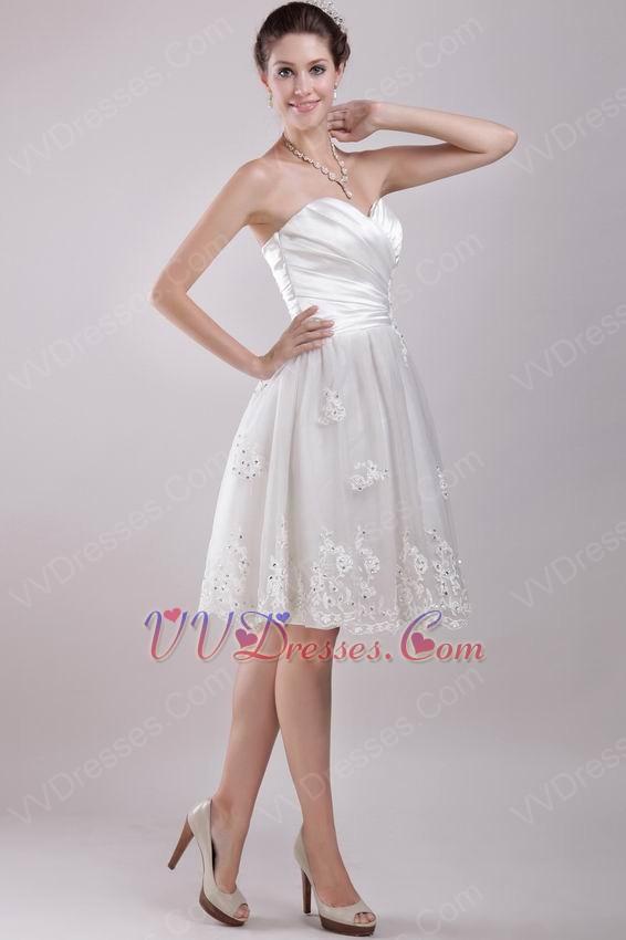 Sweetheart knee length bridal beach wedding dresses for Knee length beach wedding dresses