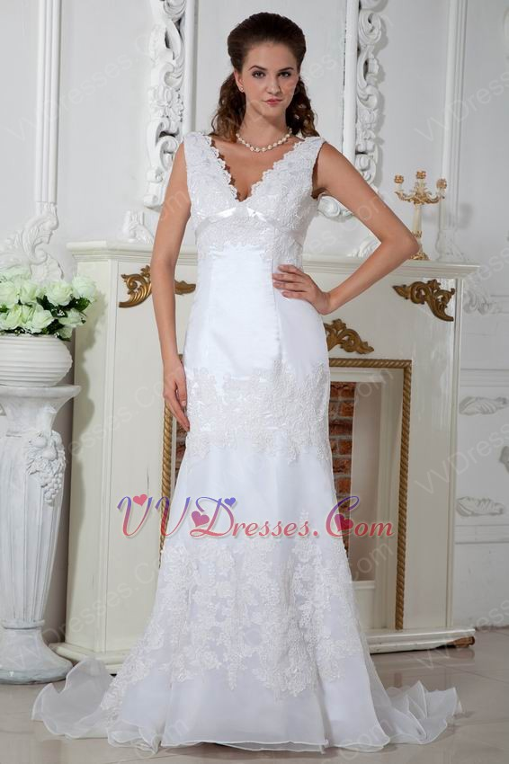 V neck fishtail wedding dresses : Elegant v neck mermaid fishtail wedding dress with appliques
