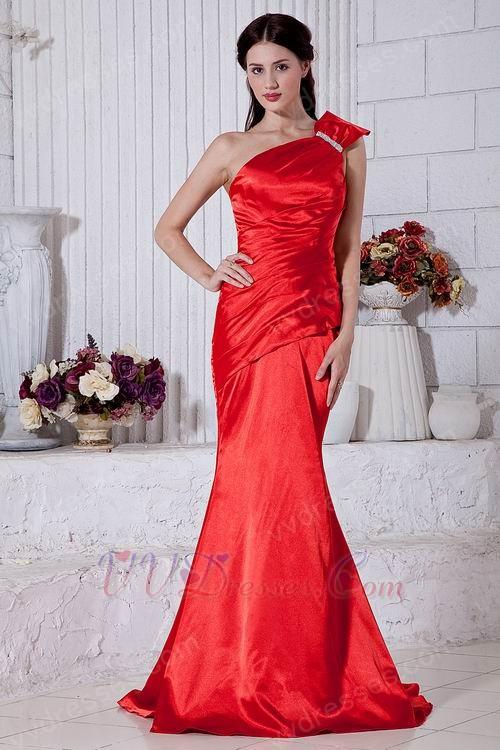 Discount One Shoulder Mermaid Silhouette Scarlet Evening Dress