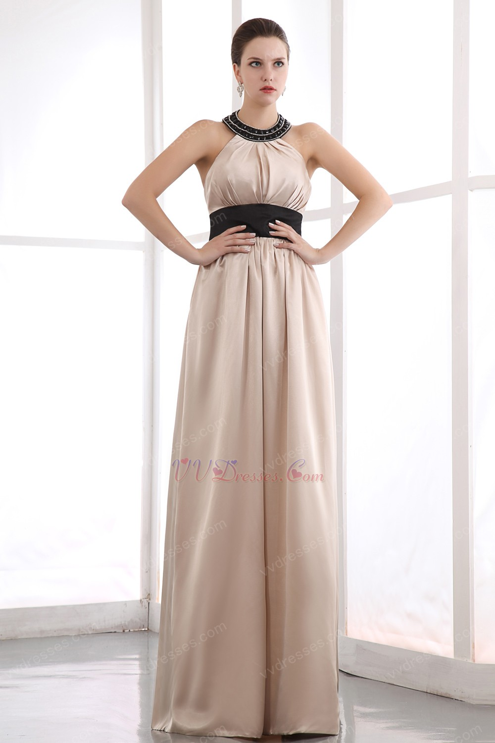 Beautiful Halter Black Belt Champagne Women Evening Wear