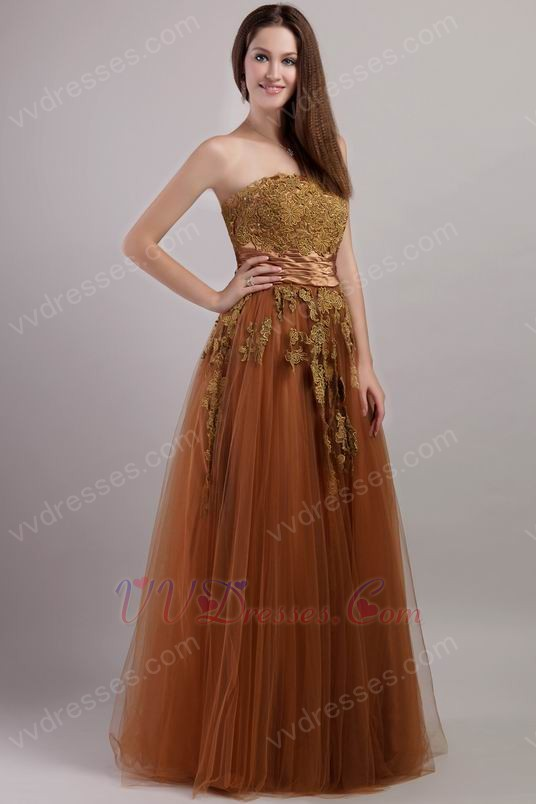 Designer Brown Evening Dress With Applique Decorate