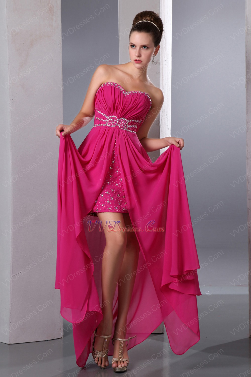 Discount Sweetheart Crystals Magenta Rose Evening Dress