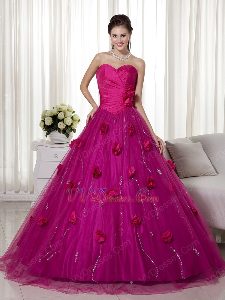 Fuchsia A-line Trimed Puffy Prom Gowns With Hand Made Flowers