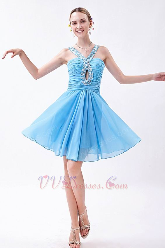 Girls Best Choose V-Neck Sky Blue Graduation Dress