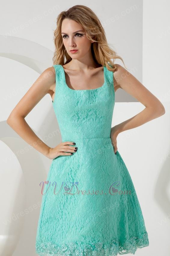 Unique Square Turquoise Lace Junior Graduation Dress