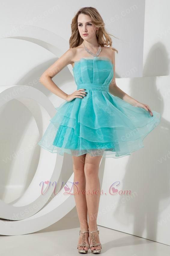 Strapless Layers Turquoise Organza Graduation Dress