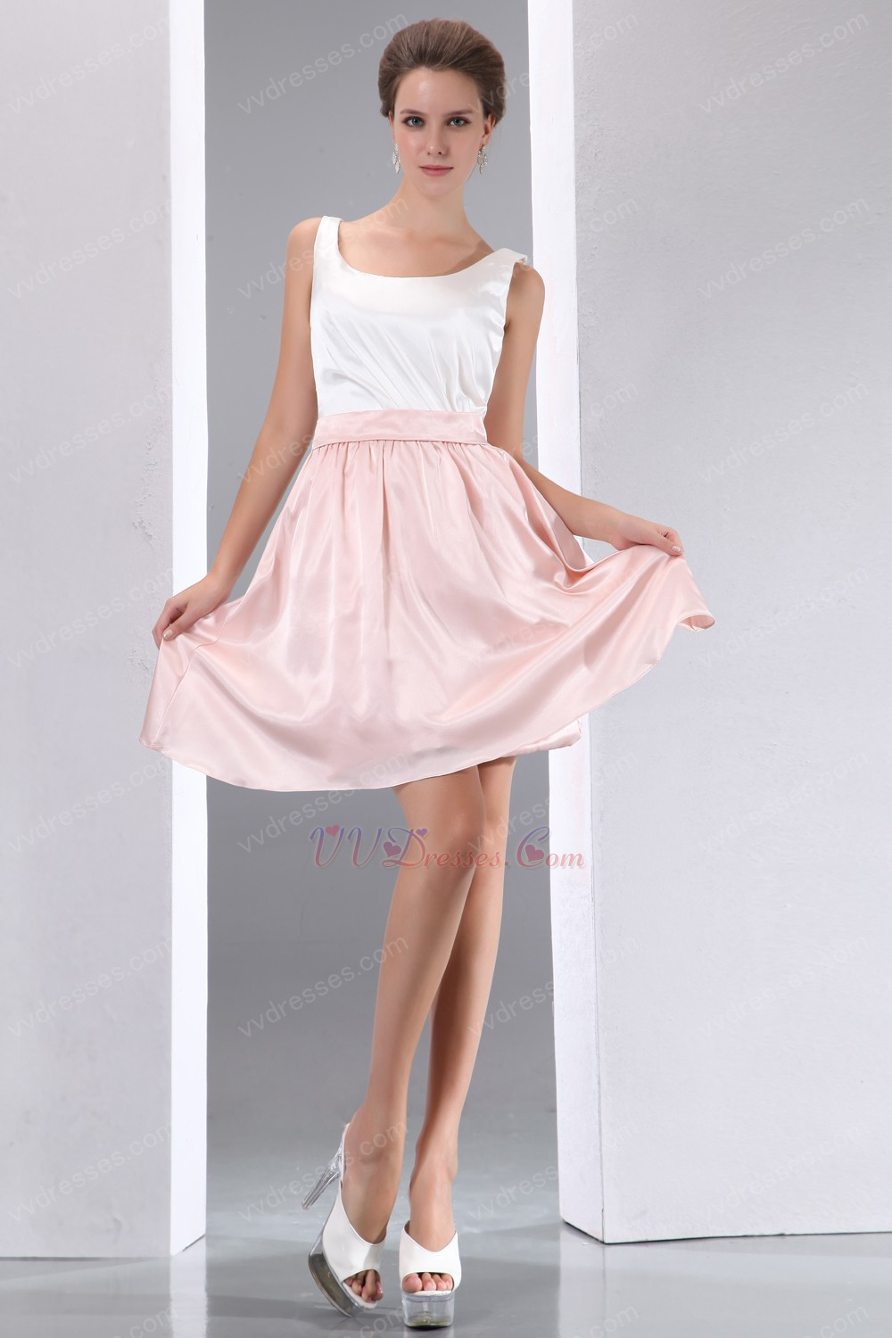 terse square white and pink high school graduation dress