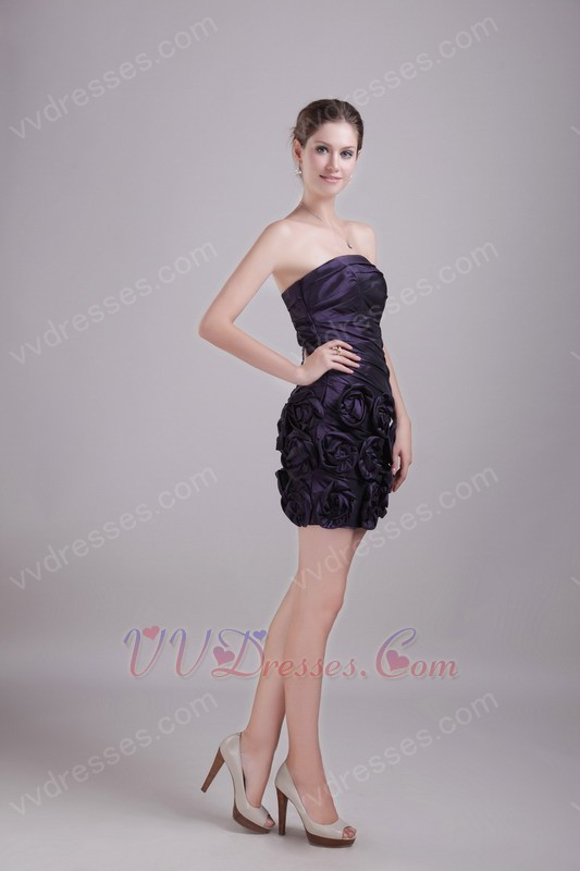 ... Dresses :: Dark Purple Graduation Dress With Handmade Flowers Skirt