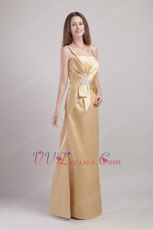Floor-length Gold Spaghetti Strap Prom Dress In South Carolina
