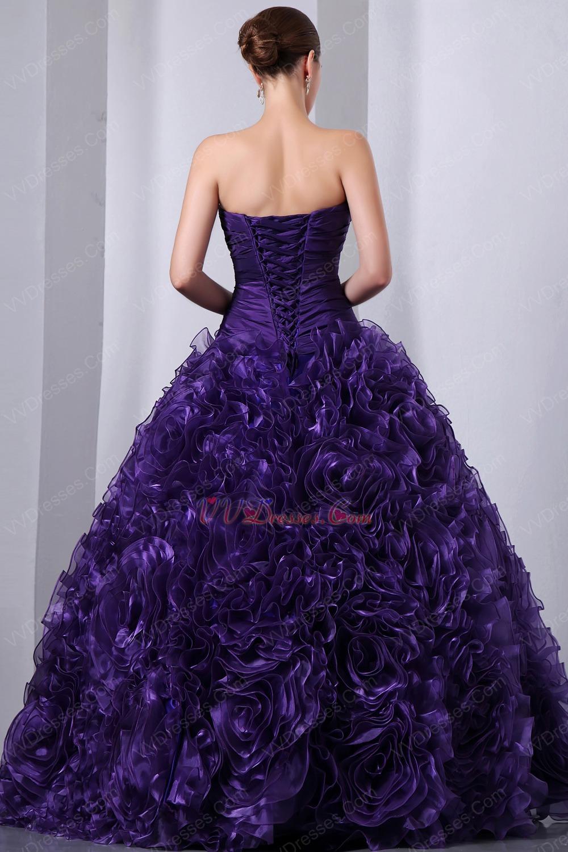 Ruffles Floor Length Skirt Purple Dama Dress For Quinceanera