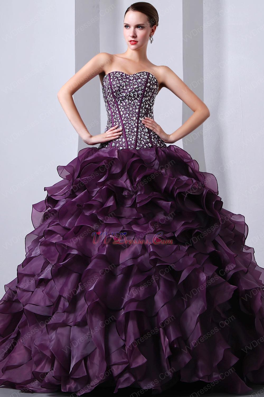 Sweetheart Ruffles Skirt Grape Quinceanera s Dresses Cheap