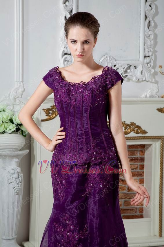 Square Neck Grape Mother Of The Bride Dress With Appliques