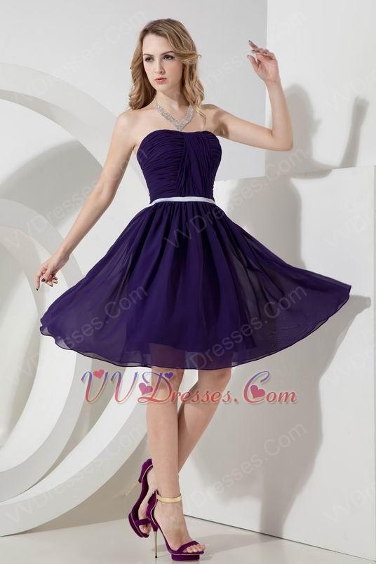 Strapless Purple Chiffon Bridesmaid Dress With Belt