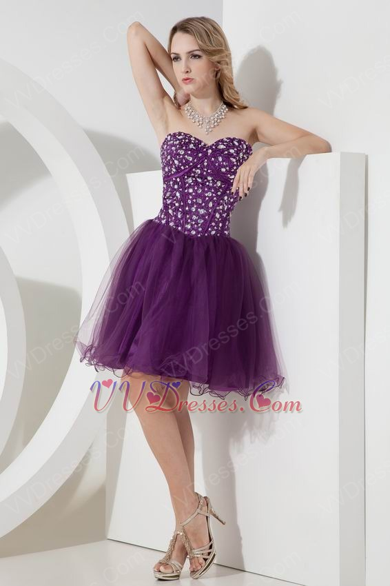 Crystals Grape Sweet Sixteen Dresses With Sweetheart Neck