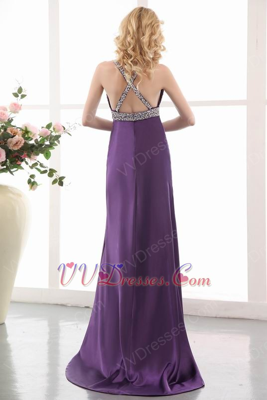 Sexy High Split Purple 2014 New Arrival Evening Dress