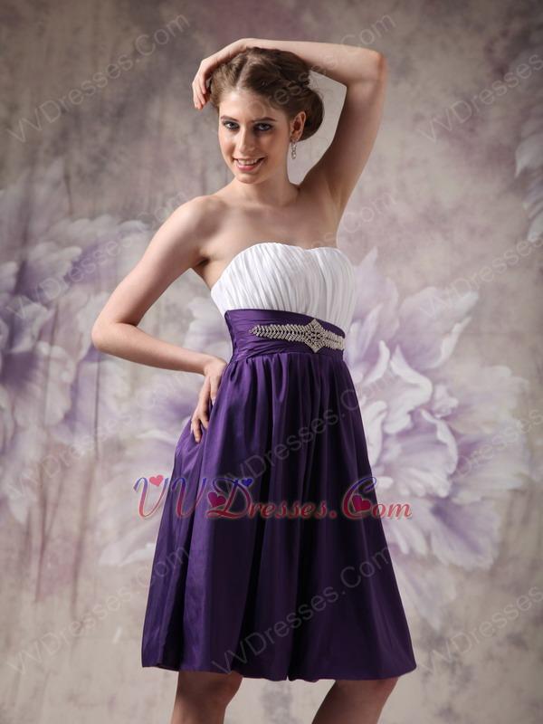 Contrast Color Knee-length Short Girls Bridesmaid Dress