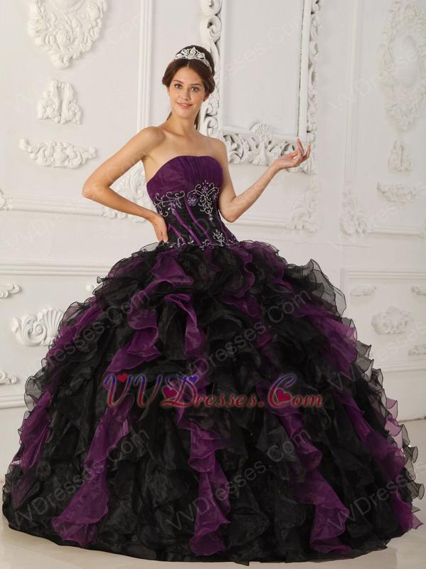 Purple And Black Ruffle Skirt Designer Quinceanera Dress