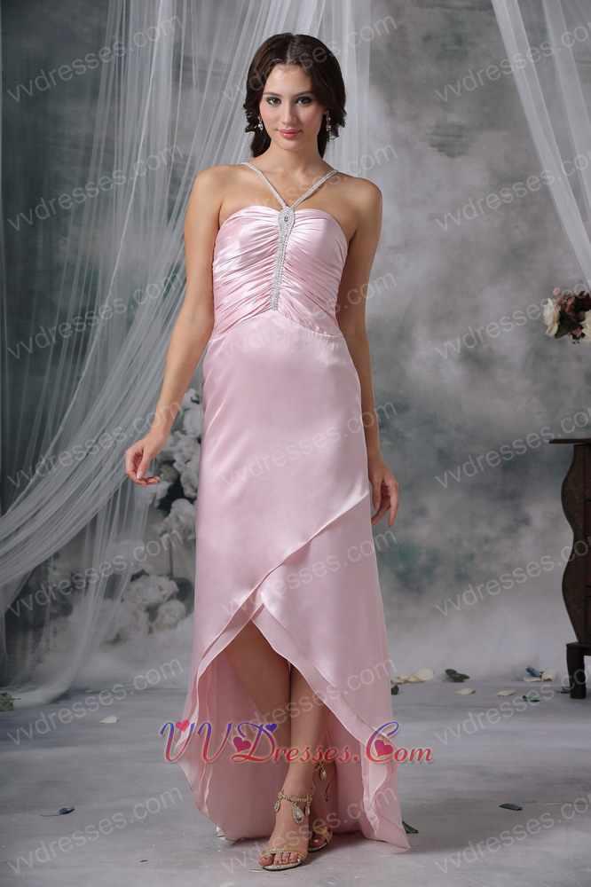 pink straps v halter high low prom dress for discount