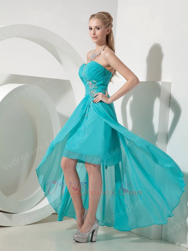 Turquoise Sweetheart High Low Prom Dress Made By Chiffon