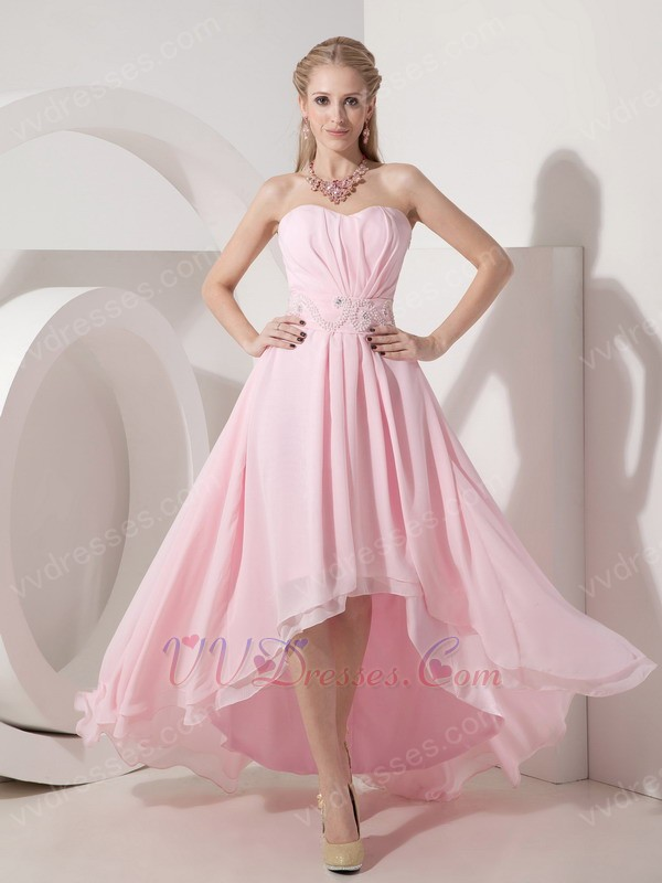 Baby Pink Strapless High-low Prom Dress With Beading