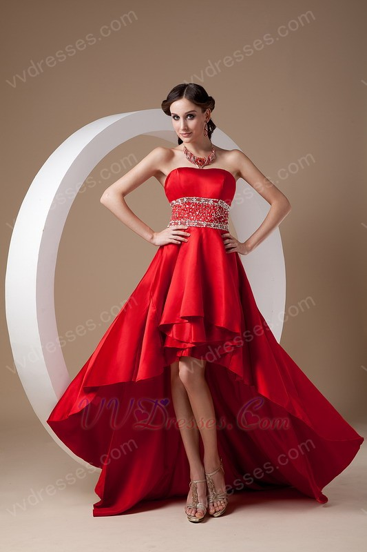 High-low Style New Fashion Wine Red Prom Dress Cheap