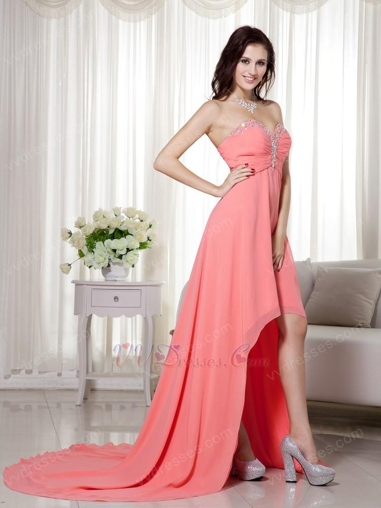 Cheap Watermelon High Low Prom Dress Made By Chiffon