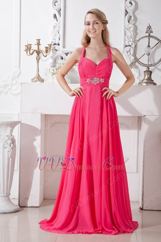 Halter Top Ruched Floor Length Deep Pink Formal Occasion Dress