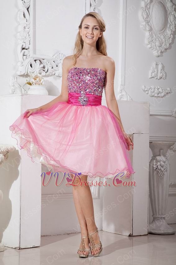 Crystals Pink Organza Graduation Dress For Sale