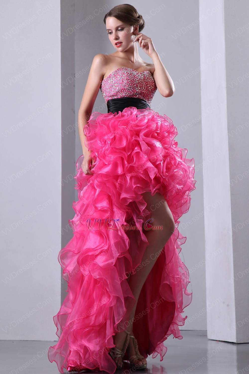 Crystals High Low Ruffles Skirt Hot Pink Cocktail Party Dress