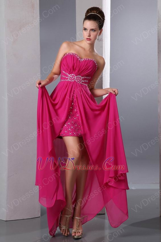 Magenta Rose High Split Chiffon Skirt Prom Dress