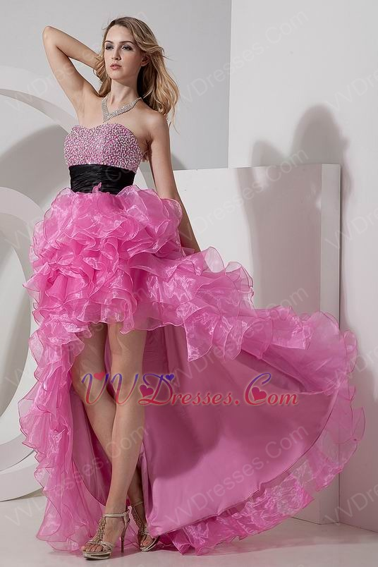 Hot Pink Short Front Long Back Skirt Cocktail Party Dress