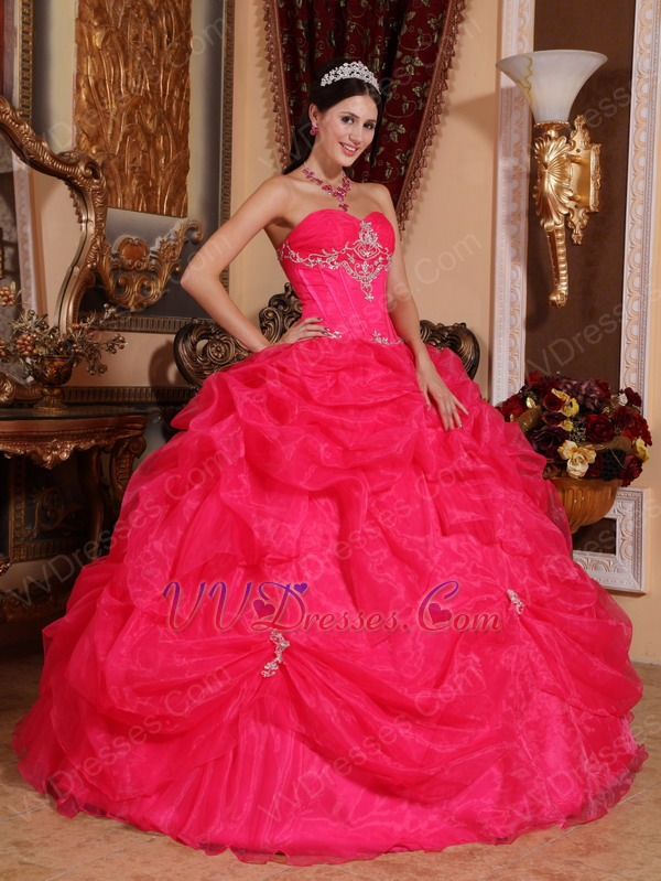 Pink Sweetheart Puffy Quinceanera Dress By Designer
