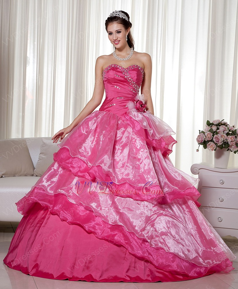 Fuchsia Gown: Deep Pink Floor Length Military Quinceanera Ball Gown