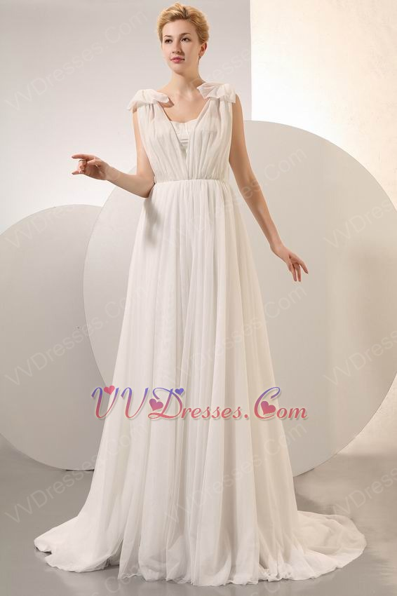 Pretty Cream Chiffon V-Neck Corset Maternity Prom Dress