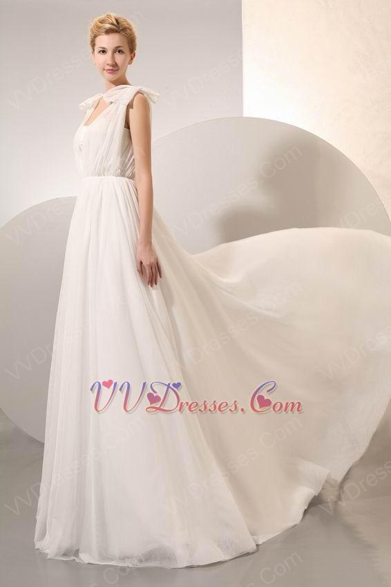 Pretty Cream Chiffon V-Neck Corset Maternity Prom Dress