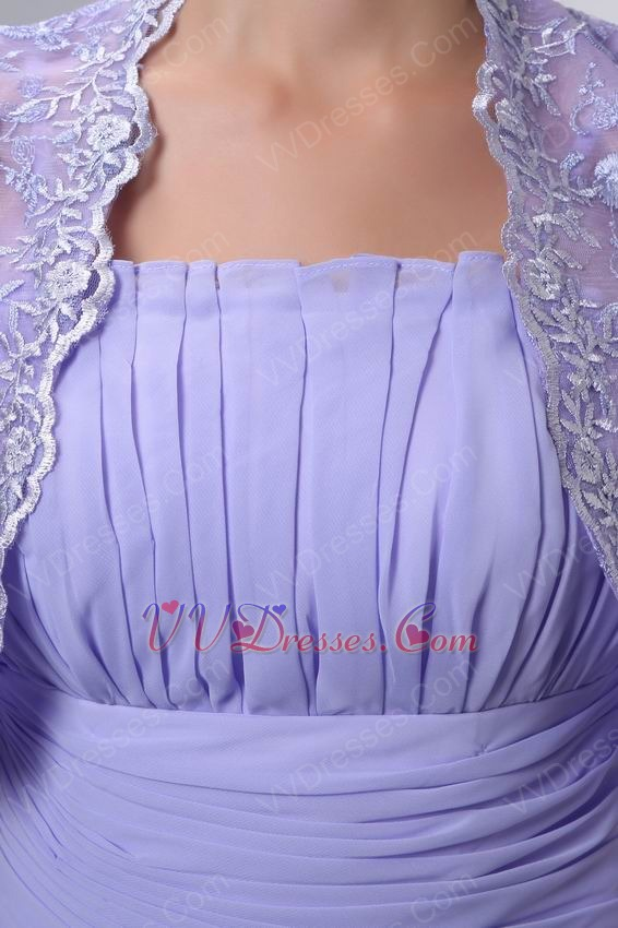 Straps Lavender Bridal Mother Dress With Lace Jacket