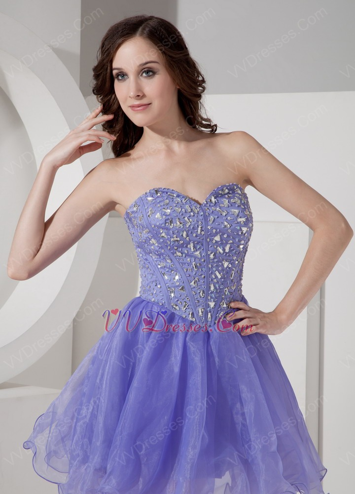 Sexy Lavender Organza Sweet 16 Girls Dress With Diamond