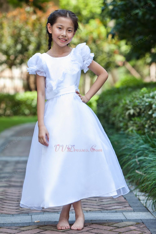 Cheap Scoop Short Knee Length White Organza Flower Girl Dress