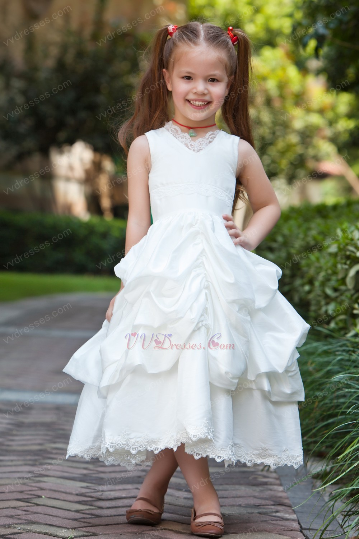 Cheap V Neck Ball Gown Bubble Lace White Taffeta Flower Girl Dress