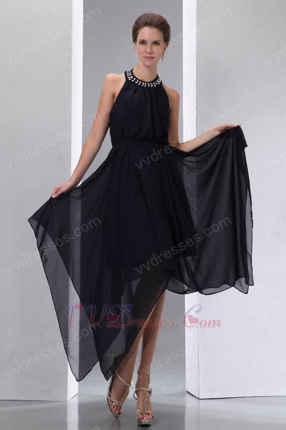 Halter Top High Low Customized Tailoring Black Prom Dress