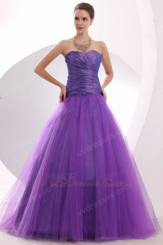 Modest Sweetheart A Line Blue Violet Puffy Dance Party Dress