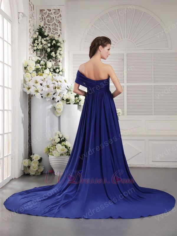 Sweetheart Style One Shoulder Royal Blue 2014 Top Prom Dresses
