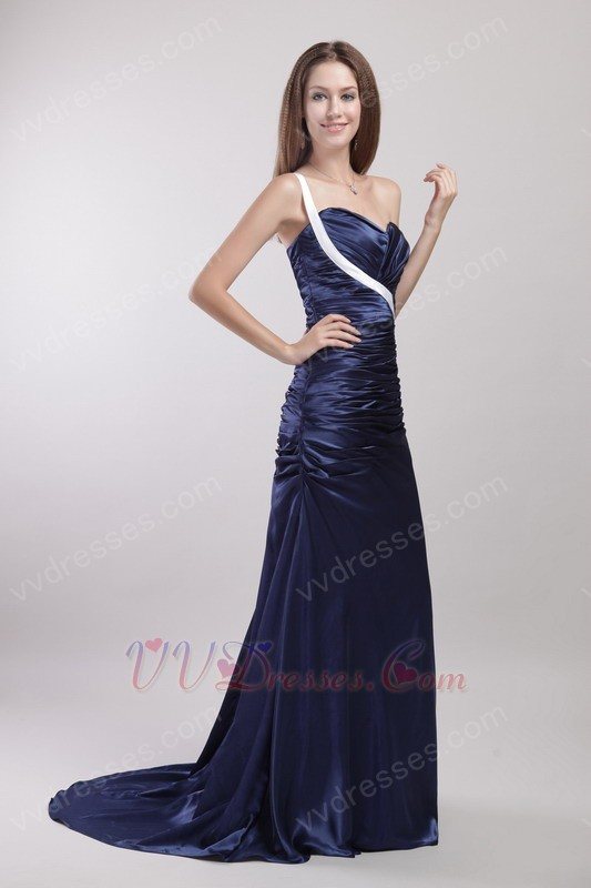 shoulder Inexpensive Navy Blue Prom Dress Under 150 Dollars