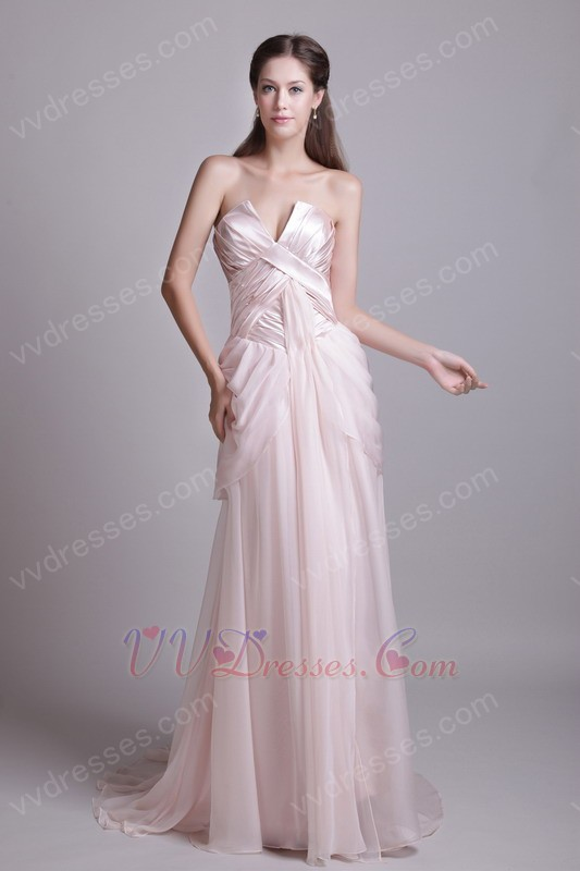 V-Shaped Strapless Baby Pink Prom Dress For Sale In Wisconsin