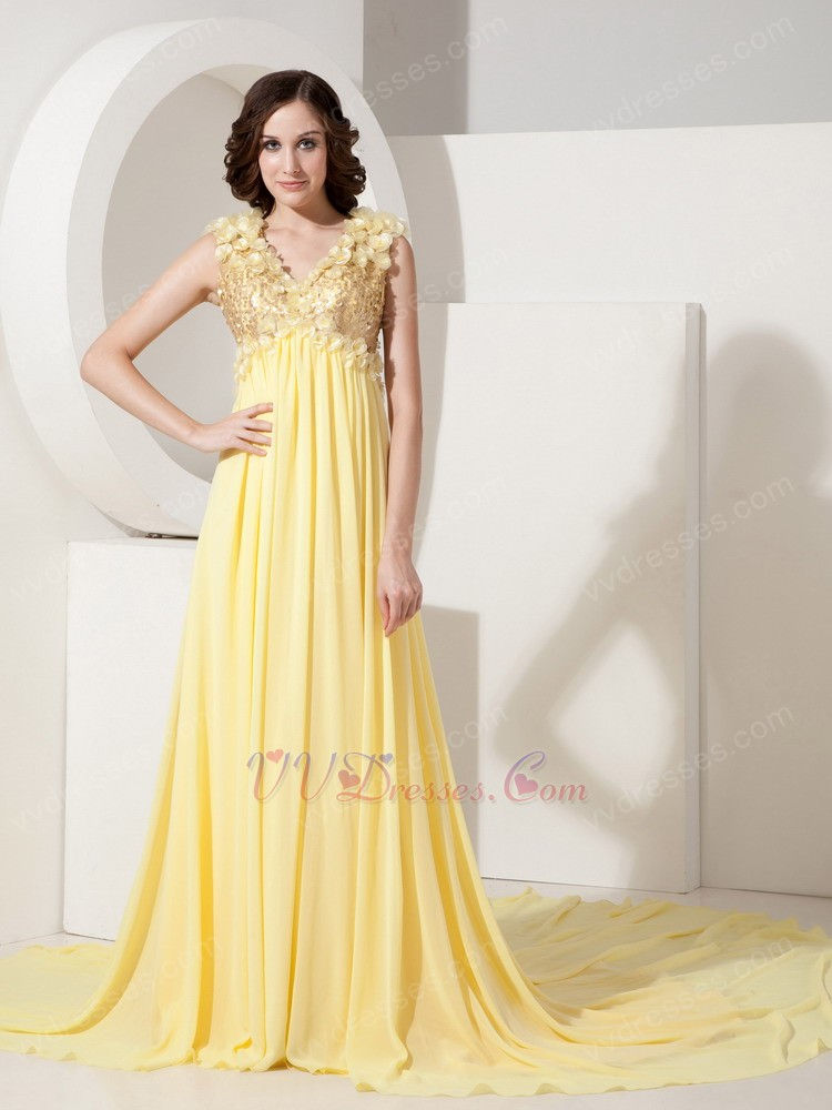 V-neck Sequin Light Yellow Prom Dress With Handcrafted Flowers