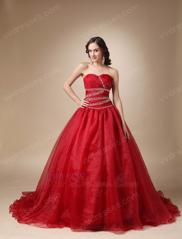 Wine Red Organza Corset Back Puffy Prom Ball Gown