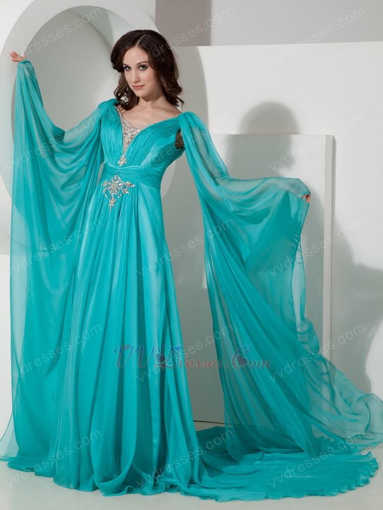 V Neck Brids Wing Design 2014 Top Designer Prom Dress